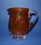 Small Antique Cranberry Glass Fluted Jug c1890